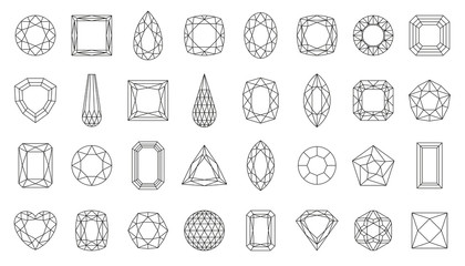 Diamond gem jewel gemstone line icon vector set
