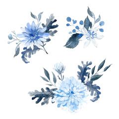 Watercolor hand drawn arrangements. Blue and black bouquet.