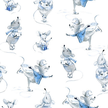 Watercolor seamless pattern with mice, winter cute characters