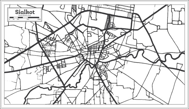 Sialkot Pakistan City Map in Retro Style in Black and White Color. Outline Map.