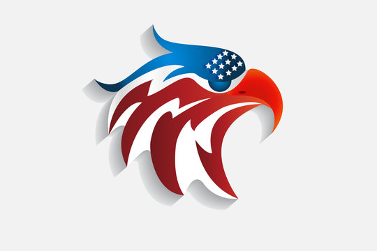Logo Bald Eagle American Flag Vector Web Image