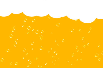 Close-up illustration of beer and beer bubbles.  ビールとビールの泡のクローズアップのイラスト