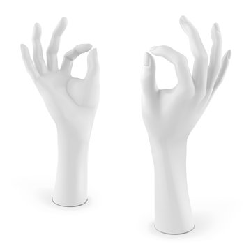White mannequin female hand. Vector 3D illustration isolated on a white background