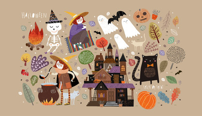 Set of cute objects for Happy Halloween. Vector illustrations of a castle, a witch, a ghost, a skeleton, a pumpkin, a bat, a pet cat, trees, plants and a bonfire with a potion Fototapete