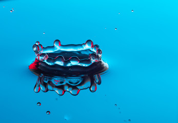 water drop impacting and splashing on a body of water