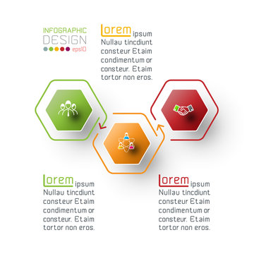 Hexagon inforgraphics on vector graphic art.