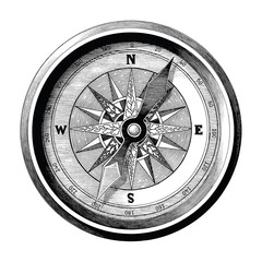 Antique engraving illustration of vintage compass black and white clip art isolated on white background,Compass of travel and sea way