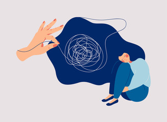 Obraz Psychotherapy and psychology help with depressive disorders. Helping hand unravels the tangle of thoughts of a woman suffering from prolonged sadness, fatigue, chronic pain, headaches or stomachaches. - fototapety do salonu