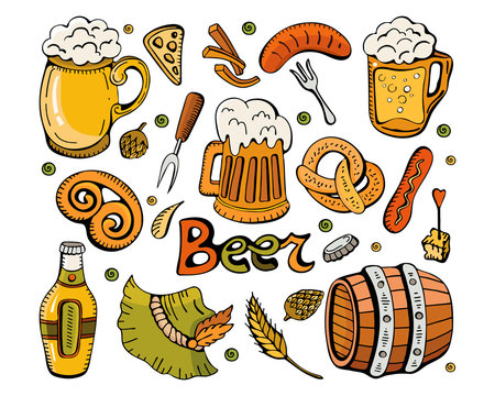 Set for the autumn festival Oktoberfest.Colorful vector hand drawn Doodle cartoon set beer fest themed elements, objects and symbols. Different attributes to decorate