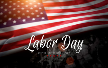 USA Labor Day greeting card with american flag background