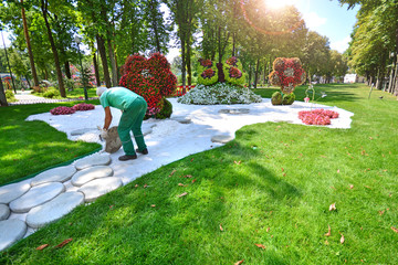 Landscaping in the city park. Gardener lays a stone path.