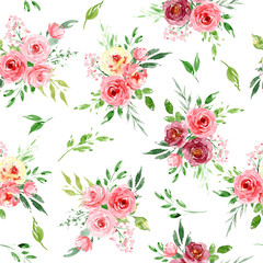 Seamless background, floral pattern with watercolor flowers roses and leaves. Repeating fabric wallpaper print texture. Perfectly for wrapping paper, backdrop, frame or border.