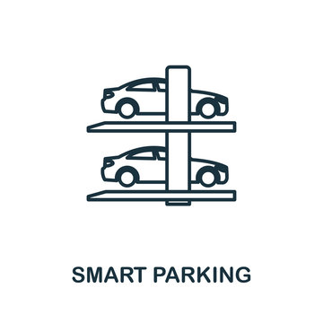Smart Parking outline icon. Creative design from smart devices icon collection. Premium smart parking outline icon. For web design, apps, software and printing.