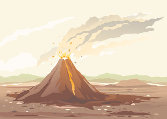 Volcano eruption of orange lava flows down the hill and stones flying in the air, nature disaster deserted place without water and without plants, climate change concept illustration