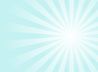 Sunlight background. Pale blue color burst background with white highlight.