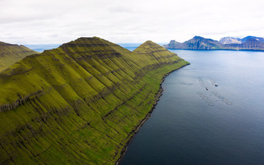 Wall Mural - Aerial view of mountains and fjords on Faroe Islands