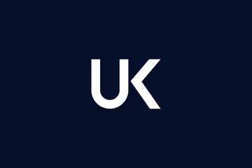Initial based clean and minimal Logo. UK KU U K letter creative technology monogram icon symbol. Universal elegant luxury alphabet vector design