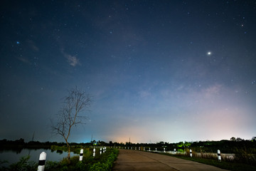 Fototapeta night sky with milky way galaxy