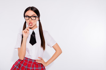 Close-up portrait of her she nice-looking attractive lovely charming cute gorgeous cool confident girl wearing eyeglasses eyewear licking sugar sweets isolated over light white background