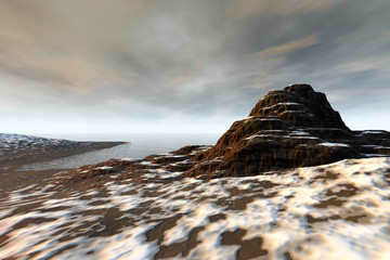 Beautiful cove, a polar landscape, snow on the ground and clouds in the sky.