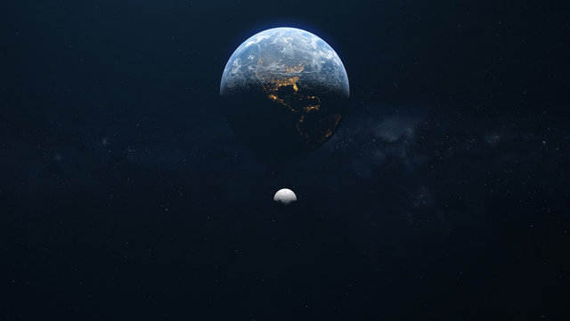 Earth And Moon Top View Background