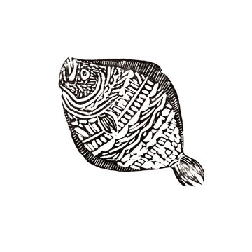 Linocut with a picture of flounder . Black print on white background