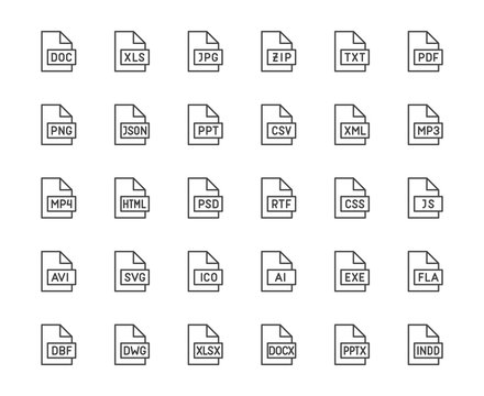 File format flat line icons set. Doc, xls, jpeg, zip, txt, pdf, xml, mp3 document vector illustrations. Outline signs for extension. Pixel perfect 64x64. Editable Strokes
