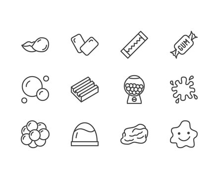 Bubble gum flat line icons set. Chewing candy in stick, pads, bubblegum pack, slime blob vector illustrations. Outline signs for sweets store. Pixel perfect 64x64. Editable Strokes