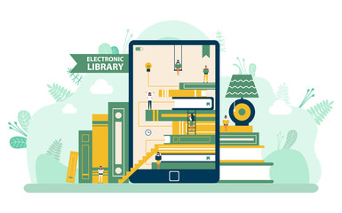 Electronic library, screen of tablet decorated by reading people, book and stairs. Ebook and elearning, modern technology for education, literature vector. Flat cartoon. Back to school concept