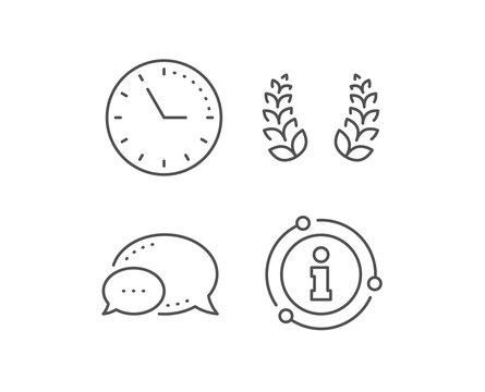 Laurel wreath line icon. Chat bubble, info sign elements. Reward symbol. Winner award sign. Linear laurel wreath outline icon. Information bubble. Vector