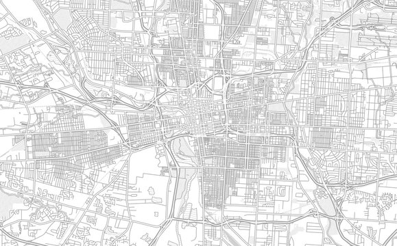 Columbus, Ohio, USA, bright outlined vector map
