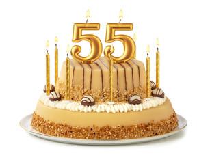 Festliche Torte mit goldenen Kerzen - Nummer 55