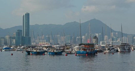 Fotomurales -  Hong Kong city harbor
