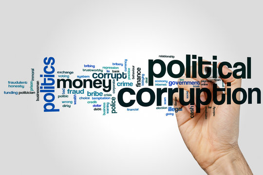 Political corruption word cloud