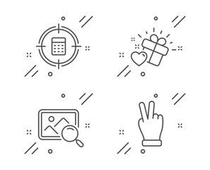 Love gift, Calculator target and Search photo line icons set. Victory hand sign. Heart, Audit, Find image. Gesture palm. Business set. Line love gift outline icon. Vector