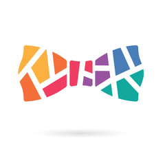 colorful geometric bow tie icon- vector illustration
