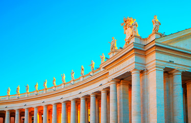Vatican City Rome Italy. St. Peter's Basilica in Rome. Rome architecture and landmark. Bernini's Colonnade.