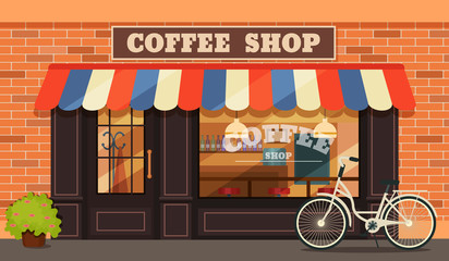 Vintage coffee shop store facade with storefront large window