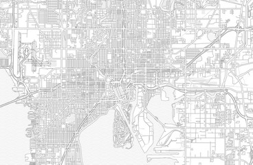 Tampa, Florida, USA, bright outlined vector map