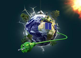 Energiegewinnung und Umweltschutz - Planet Erde mit Stromkabel Wall mural