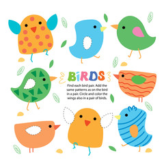 Find Bird Pair Picture Kid Game Printable Template