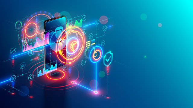 Internet mobile banking isometric concept. Online bank on phone. Safety web payment through mobile app on smartphone. Digital security financial information and protection access bank account, money.