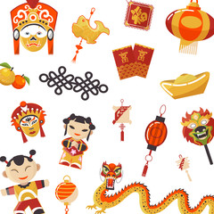 Japanese and Chinese culture pattern vector illustration. Traditional Japanese culture, red dragons and geisha dolls, masks and latterns pattern. Japan art.
