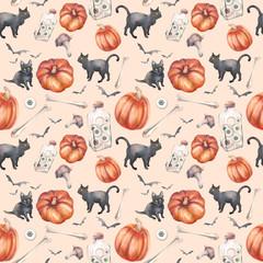 Watercolor Halloween seamless pattern. Hand painted texture with pumpkins, bones, black cat, bats.