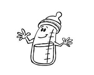 cartoon baby bottle outline