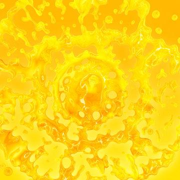 Sweet fresh orange fruit juice smoothie 3D splash on orange background. Fruits juice splashing - orange, tangerine, lemon, citrus, pineapple, peach, mango, banana juice. Healthy juice drink design