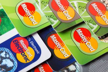 Pile of credit cards, MasterCard, credit, debit and electronic