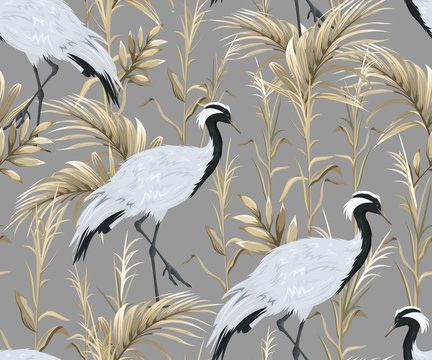 Seamless pattern with japanese cranes and golden reeds