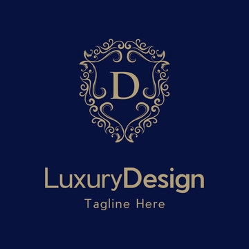 Letter D Luxury Shield Frame Creative Business Logo