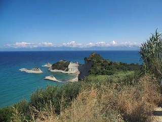 Corfu, Griechenland, Cap Drastis, Steilküste und vorgelagerte Inseln